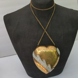 Vintage Brass Heart Shaped Handbag Clutch